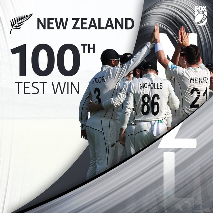 100th test win for New Zealand