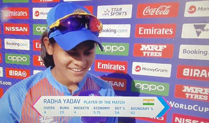 Radha Yadav player of the match