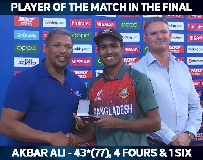 U19 worldcup India vs Bangladesh akbar ali Player of the Match