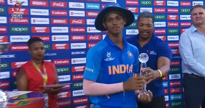 U19 worldcup India vs Bangladesh player of the tournament received by Yashasvi Jaiswal