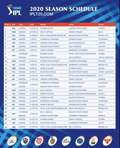 ipl schedule 1