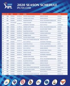 ipl schedule 2