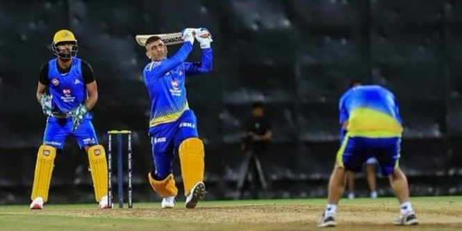 Dhoni in practice match