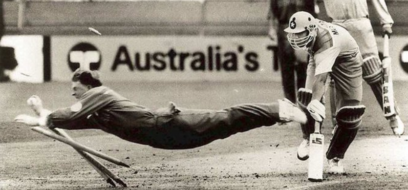 With a flying Jonty Rhodes running out Inzamam-ul-Haq in a World Cup match in Brisbane