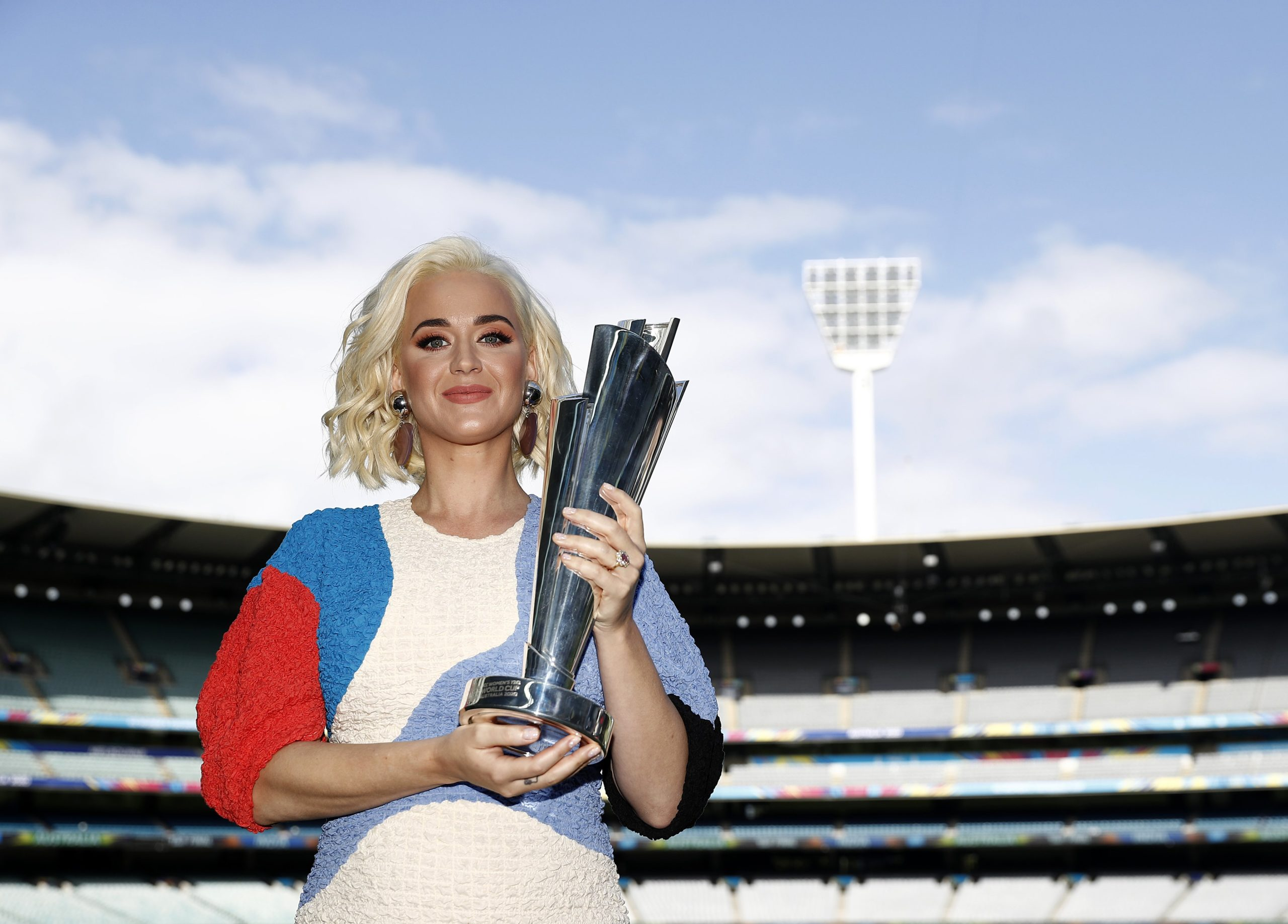 Katy Perry holds the trophy