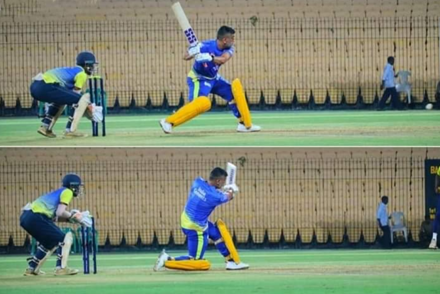 MS Dhoni hits five sixes in five consecutive balls during the practice in Chepauk