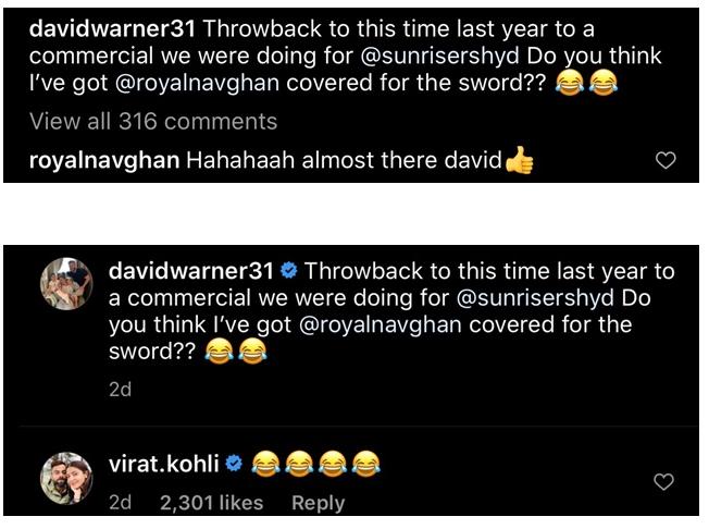 Virat Kohli reacts amusingly on David Warner attempting Ravindra Jadeja's 'sword celebration'