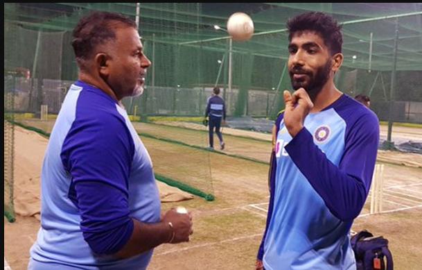 Jasprit Bumrah with Indian Bowling Coach
