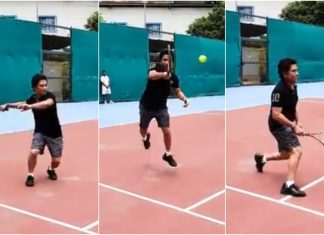 Sachin Tendulkar playing Tennis